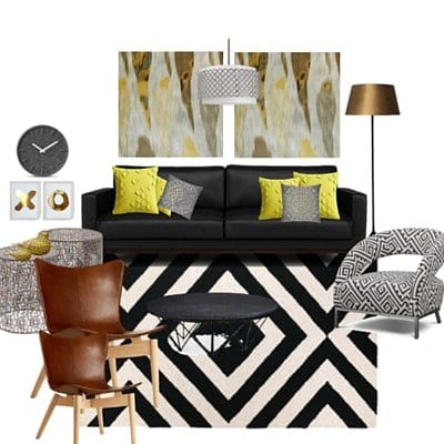 Mood board for client living room